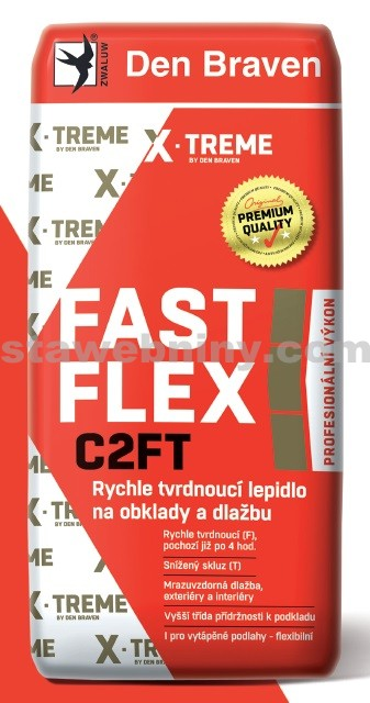 DEN BRAVEN Rychle tvrdnoucí lepidlo na obklady a dlažbu FAST FLEX C2TF 12kg šedá