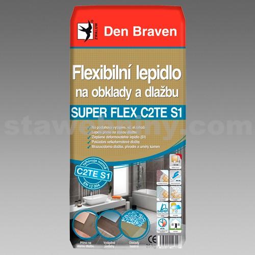 DEN BRAVEN Flexibilní lepidlo na obklady a dlažbu SUPER FLEX C2TES1 25kg šedá