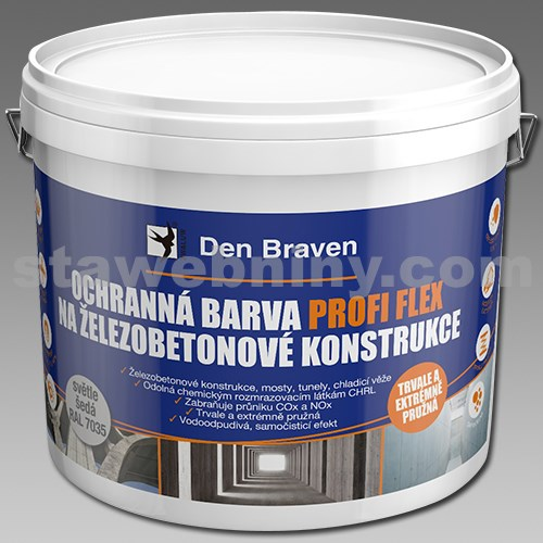 DEN BRAVEN Ochranná barva PROFI FLEX na železobetonové konstrukce 11kg šedá, RAL 7035