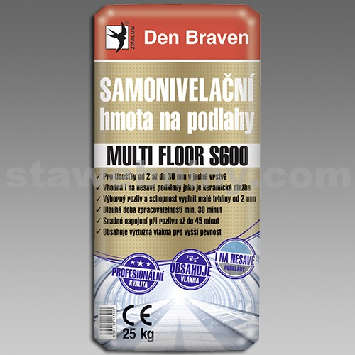 DEN BRAVEN Samonivelační hmota na podlahy MULTI FLOOR S600 25kg šedá