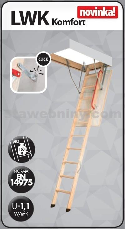 FAKRO Půdní schody 280 LWK KOMFORT 60x100 cm - 4-dílné