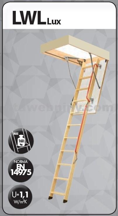 FAKRO Půdní schody 280 LWL LUX 70x140 cm - 3-dílné