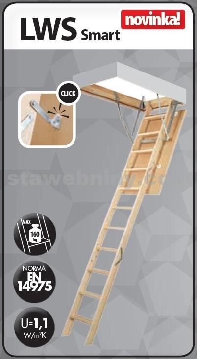 FAKRO Půdní schody 280 LWS SMART 60x100 cm - 4-dílné