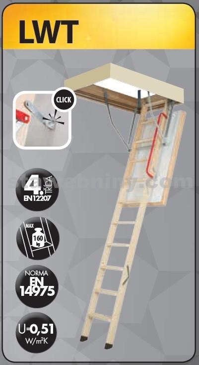 FAKRO Půdní schody 280 LWT 70x140 cm - 3-dílné