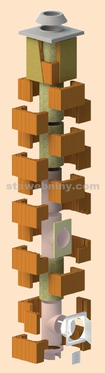 HELUZ Komínový komplet IZOSTAT PEVNÁ PALIVA pr.180mm, výška 7,5m, zákl. pr. nadstř. části
