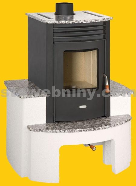 PRITY Teplovzdušná krbová kamna SB s betonovým podstavcem