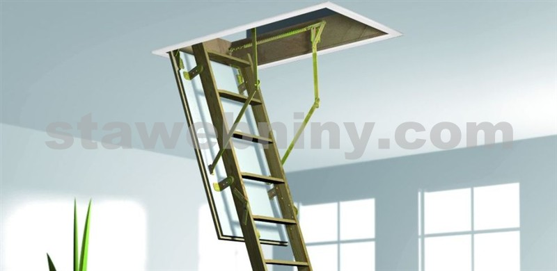 ROTO Půdní schody CADET 3 ISO-RC 112x60 cm - dřevěné 3-dílné skládací