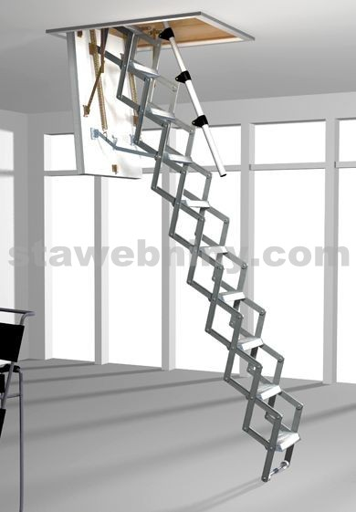 ROTO Půdní schody MINI 112x60 cm - hliníkové nůžkové shrnovací